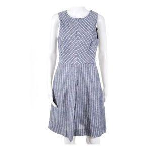 J.Crew A-Line Open Back Dress Linen Striped 10